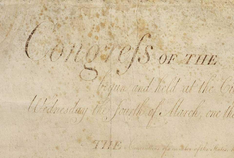 Usage du S long dans la Déclaration des droits des États-Unis (United States Bill of Rights).
