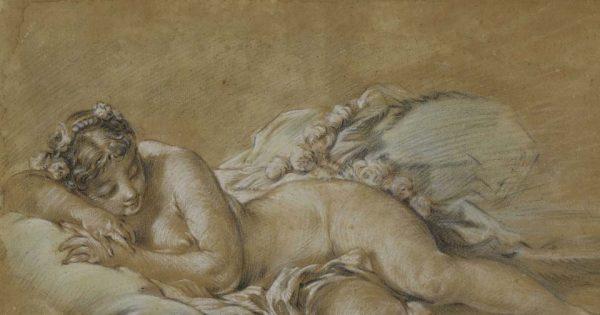 François Boucher, Jeune femme endormie, vers 1758-1760. Pierre noire, sanguine, rehauts de craie blanche et pastel sur papier brun. © Musée d'État des Beaux-Arts Pouchkine, Moscou.