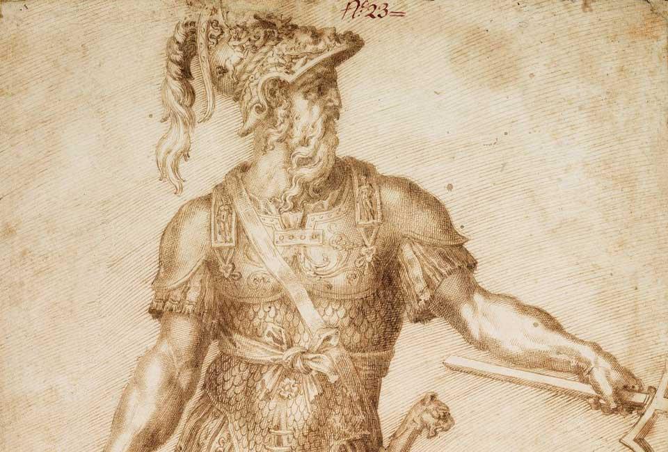 Baccio Bandinelli (1488-1560), Projet de sculpture colossale de l'amiral Andrea Doria en Neptune. Plume et encre brune, pierre noire. Ancienne collection Martelli. Expert : Cabinet de Bayser. © SVV Enchères Océanes.