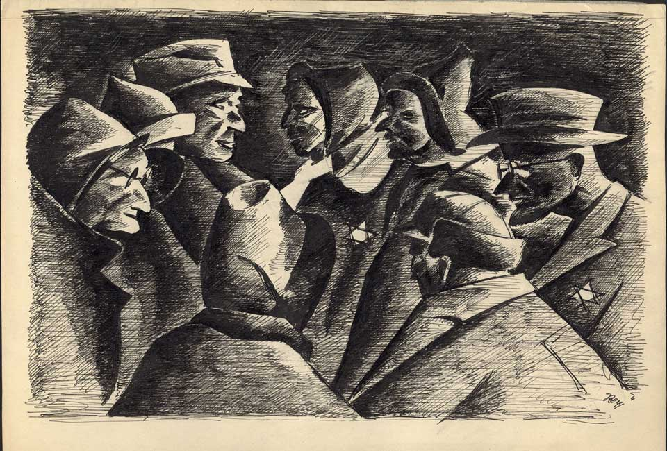 Peter Loewenstein, Eight Men in Coats with Stars, 1944. Don d'Herman et Gerda Korngold. © Museum of Jewish Heritage.