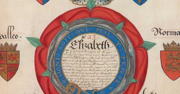 L'histoire familiale d'Élisabeth Ire, commandée par son courtisan, Francis Bacon, en 1590. Osborn fa56, p. 33. © Beinecke Rare Book & Manuscript Library