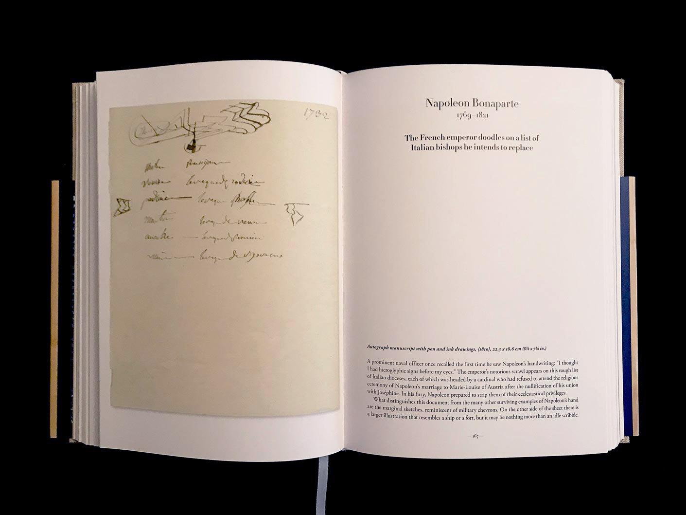Napoléon Ier, manuscrit autographe avec dessins à la plume et à l'encre, [1810]. L'empereur gribouille sur une liste d'évêques italiens qu'il a l'intention de remplacer. © Passéisme.
