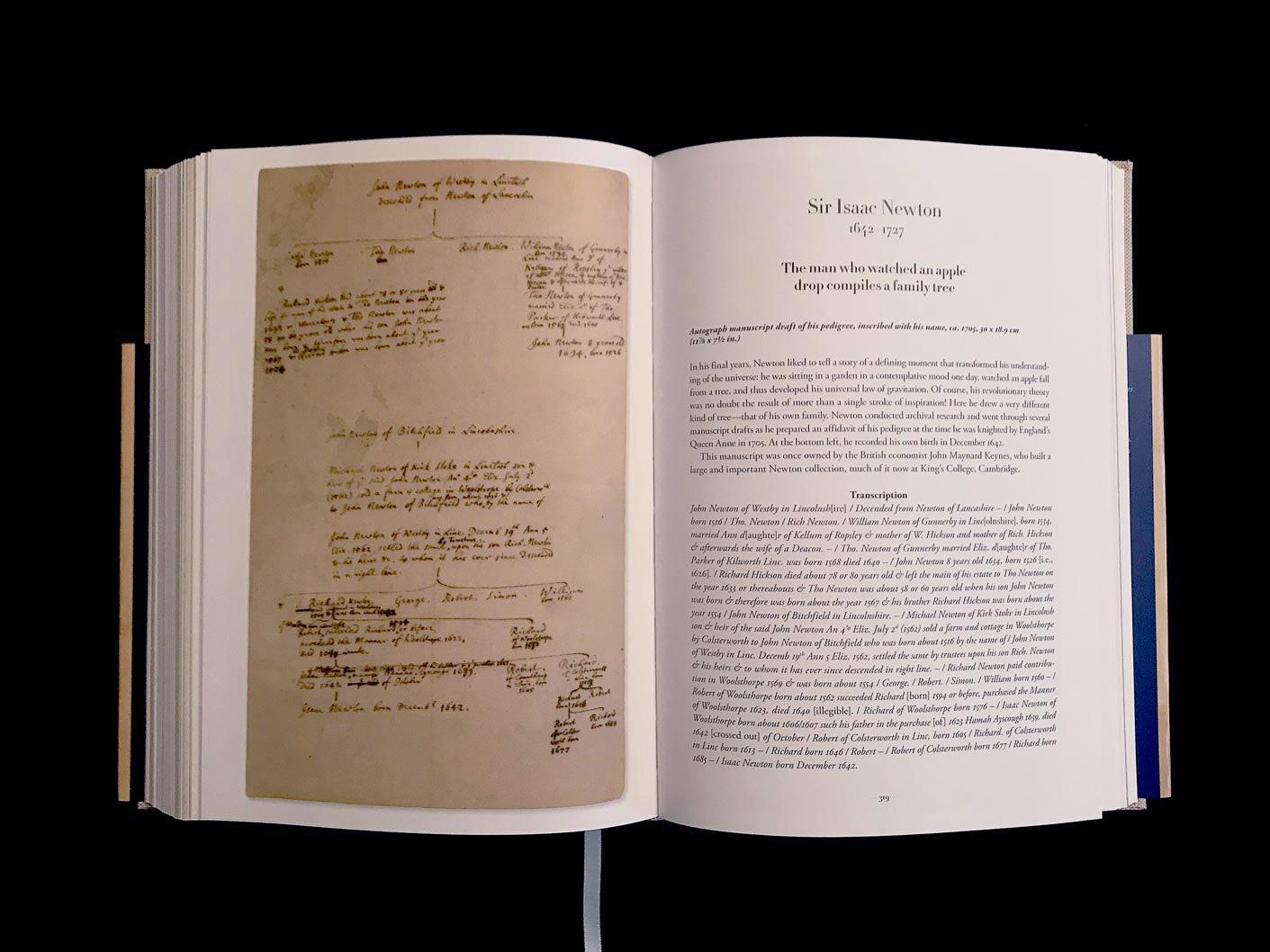 Sir Isaac Newton, ébauche manuscrite de sa généalogie, portant son nom, vers 1705. © Passéisme.