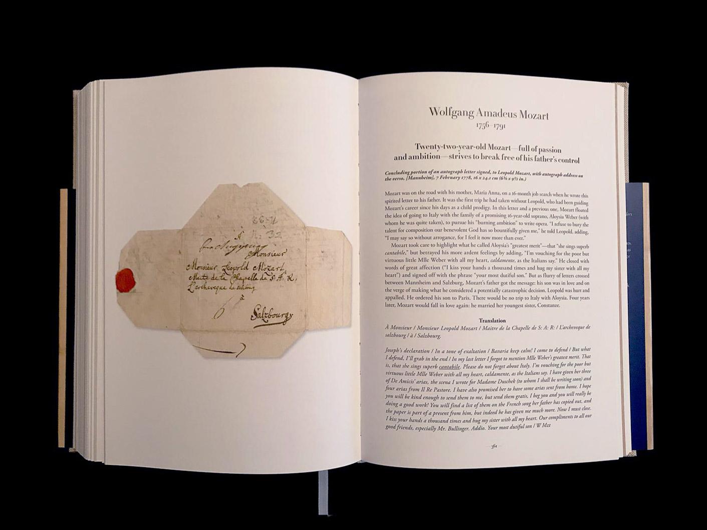 Wolfgang Amadeus Mozart, partie finale d'une lettre autographe signée à Léopold Mozart, avec adresse autographe au verso, [Mannheim], 7 février 1778. Mozart, âgé de 22 ans - plein de passion et d'ambition - s'efforce de se libérer du contrôle de son père. © Passéisme.