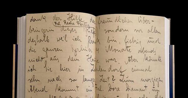 Franz Kafka, lettre autographe signée avec initiale K à Ludwig Hardt, Berlin-Zehlendorf, 1er février 1924. Dans ses derniers mois, Kafka s'appuie sur Dora Diamant, son dernier grand amour. © Passéisme.