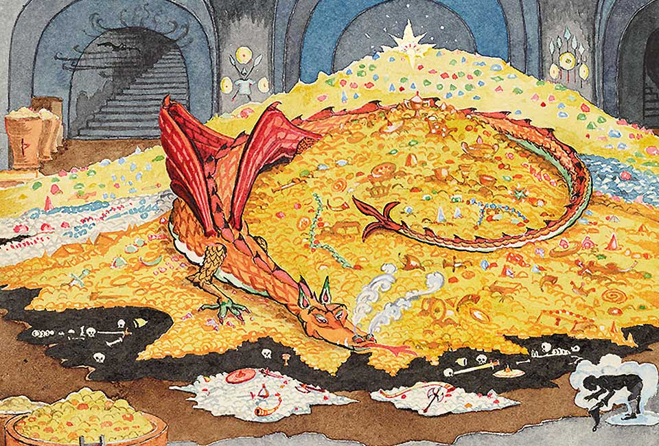 J. R. R. Tolkien, Conversation with Smaug, July 1937. Bodleian Libraries, MS. Tolkien Drawings 30. © The Tolkien Estate Limited 1937.