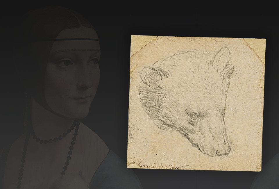 En fond, La Dame à l'hermine de Léonard de Vinci, Musée Czartoryski, musée national de Cracovie (MNK XII-209). Dessin : Tête d'ours par Léonard de Vinci. © Christie's, 2021.