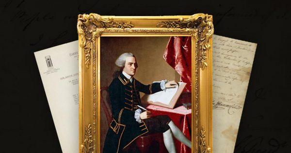 Au premier plan : portrait de John Hancock par John Singleton Copley, 1765, musée des Beaux-Arts de Boston. Document : John Hancock, lettre signée annonçant l'adoption de la Déclaration d'indépendance, 6 juillet 1776. © Sotheby's.