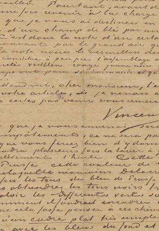 Une lettre de Vincent Van Gogh au critique qui a reconnu son génie exposée à Amsterdam