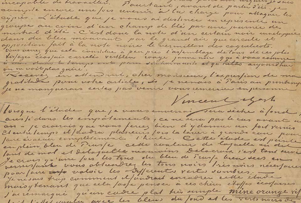 Lettre de Vincent van Gogh à Albert Aurier, Saint-Rémy-de-Provence, 1890, Van Gogh Museum, Amsterdam.