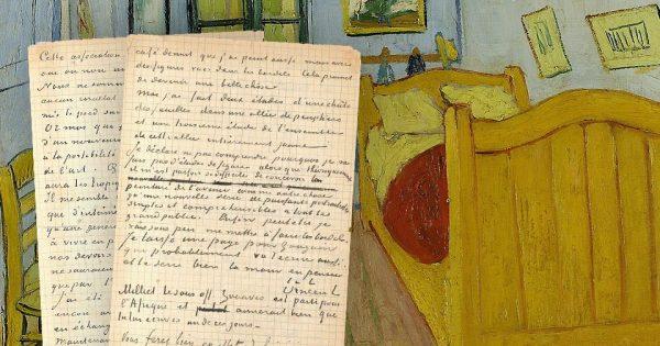 Vincent Van Gogh & Paul Gauguin, lettre autographe signée à Émile Bernard, Arles, 1er ou 2 novembre 1888. Photo : © Collections Aristophil. Vincent Van Gogh, La Chambre à Coucher. Musée Van Gogh (s0047V1962).