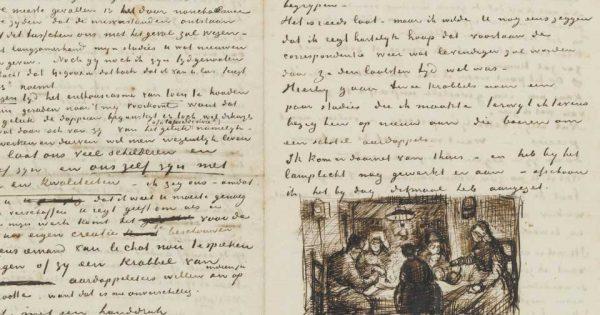 Lettre de Vincent van Gogh à Theo van Gogh avec croquis des Mangeurs de pommes de terre. © Musée Van Gogh (JH0735).