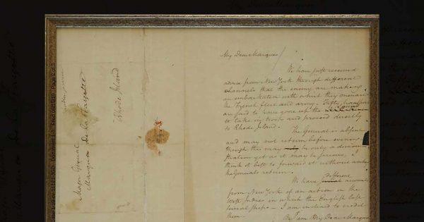 Dans cette lettre volée il y a plus de 60 ans, Alexander Hamilton met en garde le marquis de La Fayette contre la menace d'une flotte britannique. © United States Attorney's Office, Massachusetts